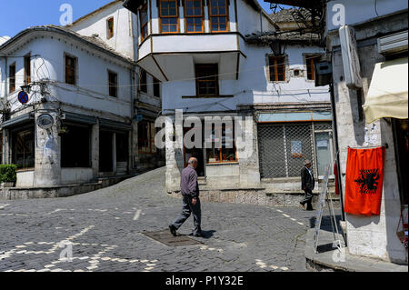 Gjirokastra, Albania, street scene in Gjirokastra - Stock Photo