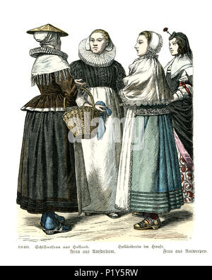 Vintage engraving of History of Fashion, Costumes of Holland, 17th Century.  Women of Amsterdam and Antwerp - Stock Photo
