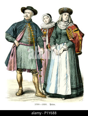 Vintage engraving of History of Fashion, Costumes of Poland, 17th Century. Dress of Polish women and men - Stock Photo