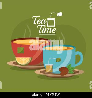 tea cup slice lemon and teabag seeds on dish - tea time vector illustration - Stock Photo