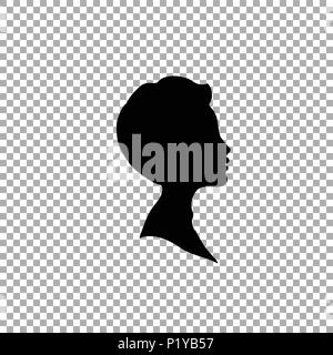 Black profile silhouette of young boy or man head, face profile, vignette. Hand drawn vector illustration, isolated on transparent background. Design  - Stock Photo