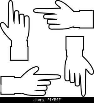 Black outline contour silhouette of hand with pointing or showing in various directions finger. Vector set of hand cursor pictograms isolated on white - Stock Photo