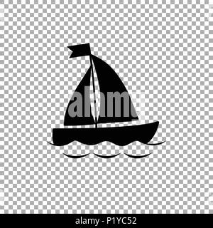Vector black silhouette illustration of sailing ship transportation floating on sea waves. Yacht boat icon isolated on transparent background. - Stock Photo