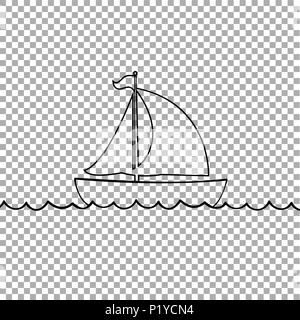 Vector black contour outline silhouette illustration of sailing ship transportation floating on sea waves. Yacht boat icon isolated on transparent bac - Stock Photo