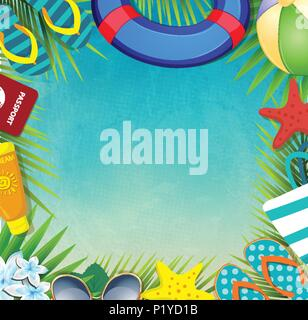 Top view of summer holidays border frame template with copy space. Vacation tropical beach accessories and palm leaves with sunglasses, sea stars, lif - Stock Photo