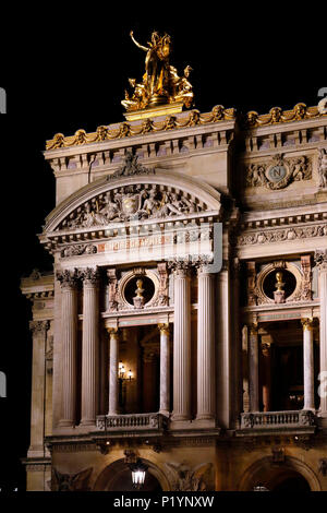 Paris, 9th arrondissement, night Palais Garnier. The facade. - Stock Photo