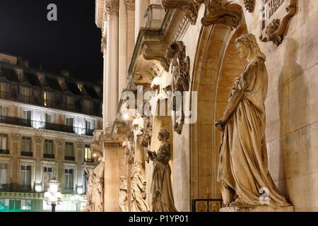 Paris, 9th arrondissement, night Palais Garnier. Sculpture on the front. - Stock Photo