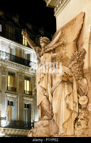 Paris, 9th arrondissement, night Palais Garnier. Sculpture on the front. - Stock Photo
