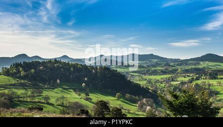 France, Auvergne-Rhones-Alpes, Haute-Loire, the volcanic landscape of the region of Yssingeaux - Stock Photo