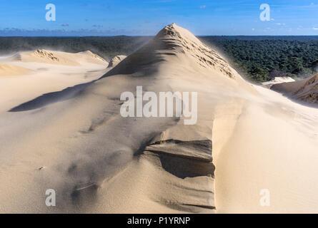 France, Arcachon Bay, natural sand sculptures on the dune de Pilat - Stock Photo