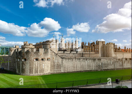 Tower of London, a historic castle and popular tourist attraction located on the north bank of the River Thames in central London, England - Stock Photo