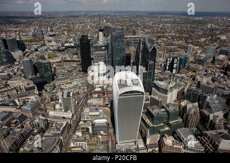 An aerial view of the skyscrapers in the City of London - Stock Photo