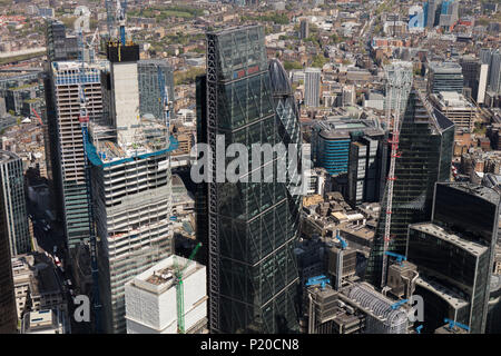 An aerial view of the City of London - Stock Photo