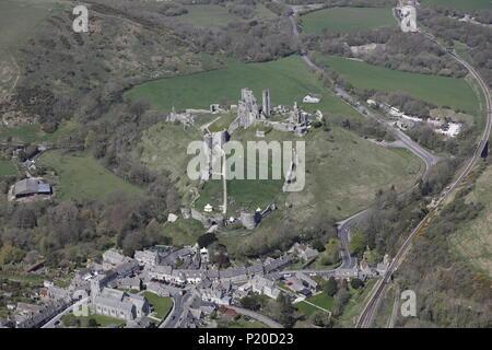 An aerial view of Corfe Castle, near Wareham, Dorset - Stock Photo