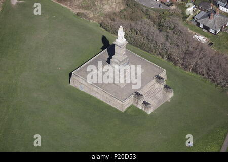 An aerial view of the Collingwood Monument, Tynemouth - Stock Photo