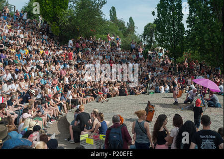 Berlin, Germany, viewer at a Karaokeshow in Mauerpark - Stock Photo