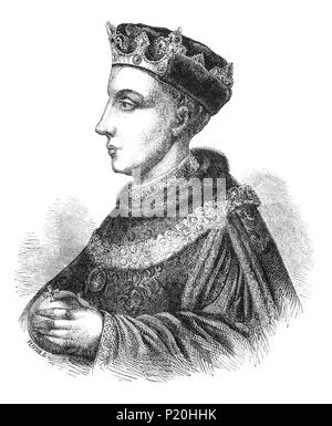 A portrait of Henry V (1386-1422), King of England from 1413 until his death at the age of 36 in 1422 and the second English monarch of the House of Lancaster. He came into political conflict with his father, Henry IV, whose health became precarious and consequently started to withdraw from government functions. On becoming king, Henry V asserted the pending English claims to the French throne and in 1415, Henry embarked on war with France in the ongoing Hundred Years' War (1337–1453) between the two nations. - Stock Photo