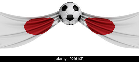 The national flag of Japan with a soccer ball. Football supporter concept. 3D Rendering - Stock Photo
