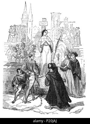 The execution of Joan Of Arc (1412-1431), aka 'The Maid of Orléans' by burning on 30 May 1431. Tied to a tall pillar at the Vieux-Marché in Rouen, she asked two of the clergy, Fr Martin Ladvenu and Fr Isambart de la Pierre, to hold a crucifix before her. An English soldier also constructed a small cross that she put in the front of her dress. The English burned the body twice more, to reduce it to ashes and prevent any collection of relics, and cast her remains into the Seine River. - Stock Photo