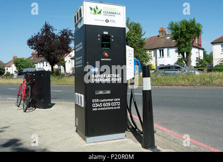 rapid electric car charging point in east sheen, london, england - Stock Photo
