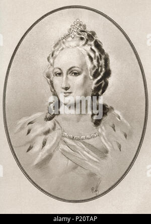 Catherine II, 1729 – 1796, aka Catherine the Great.  Empress of Russia.  Illustration by Gordon Ross, American artist and illustrator (1873-1946), from Living Biographies of Famous Rulers. - Stock Photo
