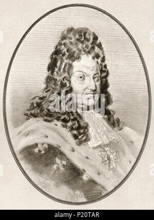 Louis XIV, 1638 – 1715, aka Louis the Great or the Sun King.  King of France.  Illustration by Gordon Ross, American artist and illustrator (1873-1946), from Living Biographies of Famous Rulers. - Stock Photo