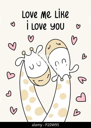 Two cute flat giraffes. Love me like I love you vector cartoon illustration poster - Stock Photo