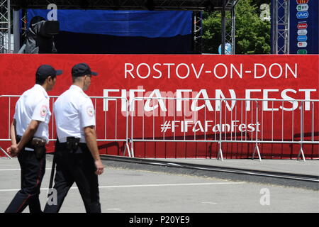 Rostov On Don, Russia. 13th June, 2018. ROSTOV-ON-DON, RUSSIA - JUNE 13, 2018: Police officers at a venue of the 2018 FIFA World Cup Fan Fest. Maxim Romanov/TASS Credit: ITAR-TASS News Agency/Alamy Live News - Stock Photo