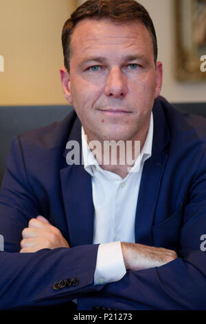 Lyon, France, June 13th 2018: Jean-Lin Lacapelle, Delegate of the 'Rassemblement National (in English: National Rally), is seen as he attends a press conference held in Lyon (Central-Eastern France). National Rally is the new name recently chosen (by French National Front (FN) members and validated by its President, Marine Le Pen. Credit Photo: Serge Mouraret/Alamy Live News - Stock Photo