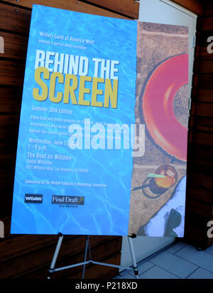 LOS ANGELES, CA - JUNE 13: A general view of atmosphere at Writers Guild of America West to Host 'Behind The Screen' Summer 2018 Screenwriters Reception on June 13, 2018 at The Roof on Wilshire in Los Angeles, California. Photo by Barry King/Alamy Live News - Stock Photo