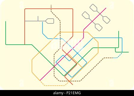 colored subway vector map of Singapore, asia - Stock Photo