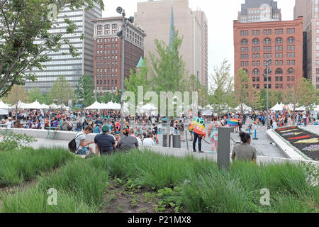 Public Square during the June 2018 Pride Celebration in downtown Cleveland, Ohio, USA. - Stock Photo