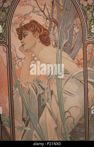 . Norsk bokmål: Alfons Mucha fotografert i Praha. English: Alphonse Mucha photographed in Prague. 5 May 2014, 14:04:45.   Alphonse Mucha (1860–1939)   Alternative names Alphonse Maria Mucha  Description Czech-Austro-Hungarian poster artist, lithographer, photographer, graphic designer, painter and postage stamp designer Czechoslovak photographer, painter, illustrator and patriot. Apart from his artistic production he was an advocate for the unification of Czekoslovakia for which he designed the first banknotes in 1918.  Date of birth/death 24 July 1860 14 July 1939  Location of birth/deat