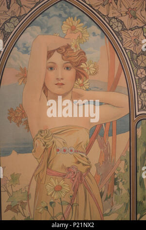 . Norsk bokmål: Alfons Mucha fotografert i Praha. English: Alphonse Mucha photographed in Prague. 5 May 2014, 14:05:23.   Alphonse Mucha (1860–1939)   Alternative names Alphonse Maria Mucha  Description Czech-Austro-Hungarian poster artist, lithographer, photographer, graphic designer, painter and postage stamp designer Czechoslovak photographer, painter, illustrator and patriot. Apart from his artistic production he was an advocate for the unification of Czekoslovakia for which he designed the first banknotes in 1918.  Date of birth/death 24 July 1860 14 July 1939  Location of birth/deat
