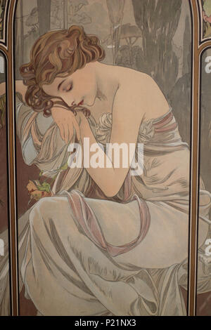 . Norsk bokmål: Alfons Mucha fotografert i Praha. English: Alphonse Mucha photographed in Prague. 5 May 2014, 14:06:41.   Alphonse Mucha (1860–1939)   Alternative names Alphonse Maria Mucha  Description Czech-Austro-Hungarian poster artist, lithographer, photographer, graphic designer, painter and postage stamp designer Czechoslovak photographer, painter, illustrator and patriot. Apart from his artistic production he was an advocate for the unification of Czekoslovakia for which he designed the first banknotes in 1918.  Date of birth/death 24 July 1860 14 July 1939  Location of birth/deat