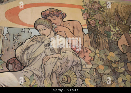 . Norsk bokmål: Alfons Mucha fotografert i Praha. English: Alphonse Mucha photographed in Prague. 7 May 2014, 14:50:56.   Alphonse Mucha (1860–1939)   Alternative names Alphonse Maria Mucha  Description Czech-Austro-Hungarian poster artist, lithographer, photographer, graphic designer, painter and postage stamp designer Czechoslovak photographer, painter, illustrator and patriot. Apart from his artistic production he was an advocate for the unification of Czekoslovakia for which he designed the first banknotes in 1918.  Date of birth/death 24 July 1860 14 July 1939  Location of birth/deat