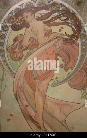 . Norsk bokmål: Alfons Mucha fotografert i Praha. English: Alphonse Mucha photographed in Prague. 7 May 2014, 14:56:54.   Alphonse Mucha (1860–1939)   Alternative names Alphonse Maria Mucha  Description Czech-Austro-Hungarian poster artist, lithographer, photographer, graphic designer, painter and postage stamp designer Czechoslovak photographer, painter, illustrator and patriot. Apart from his artistic production he was an advocate for the unification of Czekoslovakia for which he designed the first banknotes in 1918.  Date of birth/death 24 July 1860 14 July 1939  Location of birth/deat