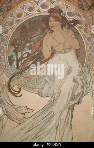 . Norsk bokmål: Alfons Mucha fotografert i Praha. English: Alphonse Mucha photographed in Prague. 7 May 2014, 14:57:17.   Alphonse Mucha (1860–1939)   Alternative names Alphonse Maria Mucha  Description Czech-Austro-Hungarian poster artist, lithographer, photographer, graphic designer, painter and postage stamp designer Czechoslovak photographer, painter, illustrator and patriot. Apart from his artistic production he was an advocate for the unification of Czekoslovakia for which he designed the first banknotes in 1918.  Date of birth/death 24 July 1860 14 July 1939  Location of birth/deat