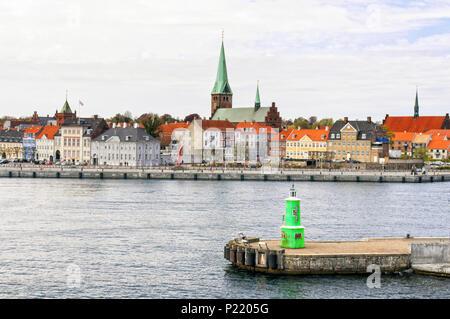 The harbor of the Scandinavian town of Helsingor. Denmark. - Stock Photo