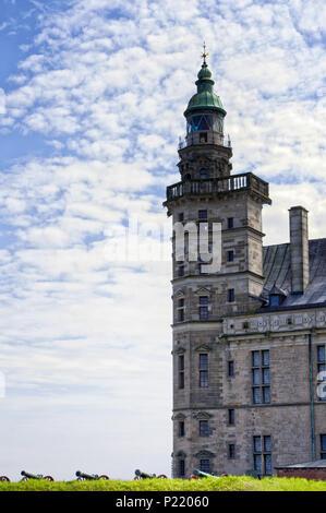 The famous Kronborg Castle, the Hamlet's castle in the Scandinavian town of Helsingor - Elsinore, Denmark. Shakespeare Places. - Stock Photo