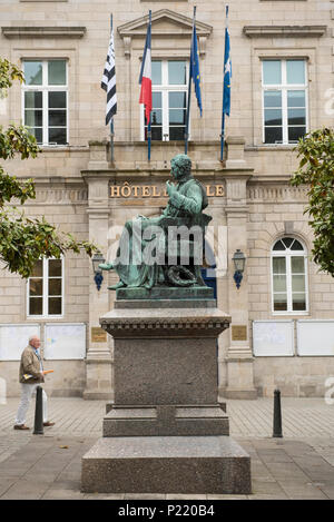 Statue of French physician Rene Theophile Hyacinthe Laënnec inventor of the stethoscope,  Quimper  Finistère, Brittany, France. - Stock Photo