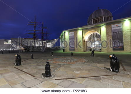 Discovery Point Visitors Centre, RRS Discovery and V&A Design Museum by night Dundee Scotland  June 2018 - Stock Photo