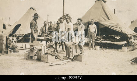 """Antique 1917 photograph, """"the boys from my tent"""" in Camp Hancock. Camp Hancock near Augusta, Georgia was a military cantonment that was opened during World War I. It included an airfield and it served as a base for a reserves unit. SOURCE: ORIGINAL PHOTOGRAPH - Stock Photo"""