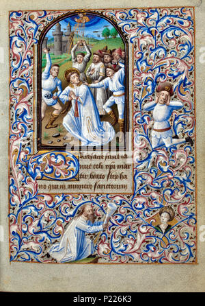 . Folio 009r from the Book of Hours of Simon de Varie - KB 74 G37a .  Folio 009r from the Book of Hours of Simon de Varie - KB 74 G37a Miniature on the folio 009r     The martyrdom of St. Stephen - he is stoned to death    . 1455 34 Book of Hours of Simon de Varie - KB 74 G37a - folio 009r - Stock Photo