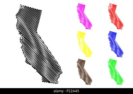 California map vector illustration, scribble sketch California map black, red, blue, green, yellow, purple Stock Photo