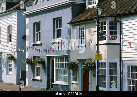 Old house fronts in the Old Town district of Bexhill, East Sussex, on the South Coast, UK - Stock Photo