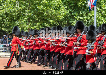 Coldstream Guards marching along the Mall at The Trooping Of The Colour / Queen's Birthday parade 2018 - Stock Photo
