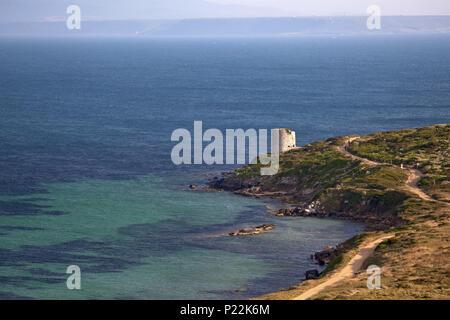 Italy, Sardinia, West coast, Oristano, Sinis peninsula, San Giovanni di Sinis, Capo San Marco, Tharros, Torre San Giovanni, - Stock Photo