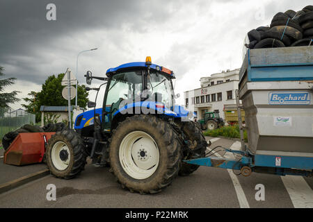 Lyon, France, 12th June 2018: Farmers, members of FNSEA and Jeunes Agriculteurs (in english, Young Farmers) are seen in Lyon (Central-Eastern France)  - Stock Photo