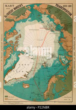 kart over nordområdene Kart over Fridtjof Nansen's Polarexpedition 1893 1896 no nb krt  kart over nordområdene